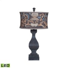 Carved Beacon LED Table Lamp In Ash Black Stain With Drum Shade
