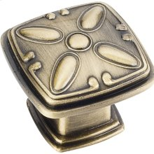 """1-3/16"""" Overall Length Decorated Square Cabinet Knob."""