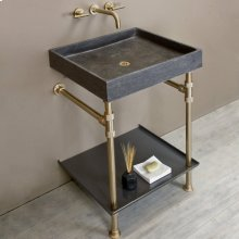 Ventus Bath Sink With Tray Antique Gray Limestone / 24in / Aged Brass