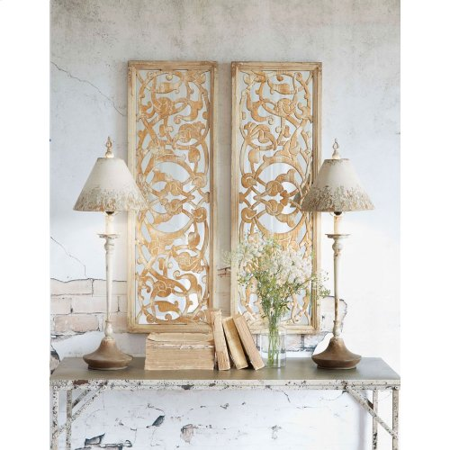 Distressed Ivory Mirror with Gold Scroll Overlay (2 asstd)