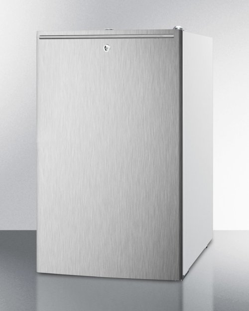 "ADA Compliant 20"" Wide Built-in Refrigerator-freezer With A Lock, Stainless Steel Door, Horizontal Handle and White Cabinet"