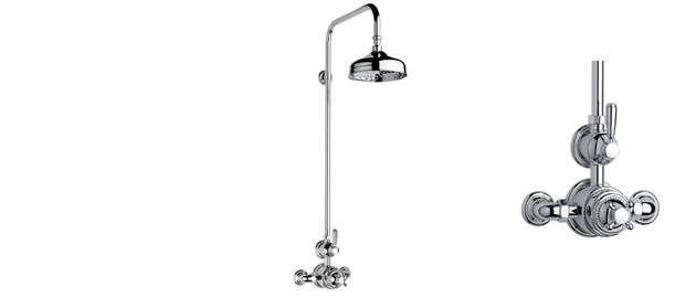 """Polished Nickel Fairfield Exposed 3/4"""" Thermostatic Shower Set"""