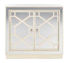 Juniper 2 Door Chest - Antique Beige / Nickel / Mirror