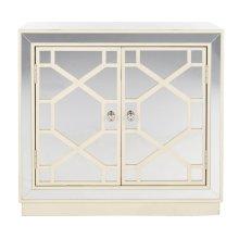 Juniper 2 Door Chest - Antique Beige/nickel/mirror