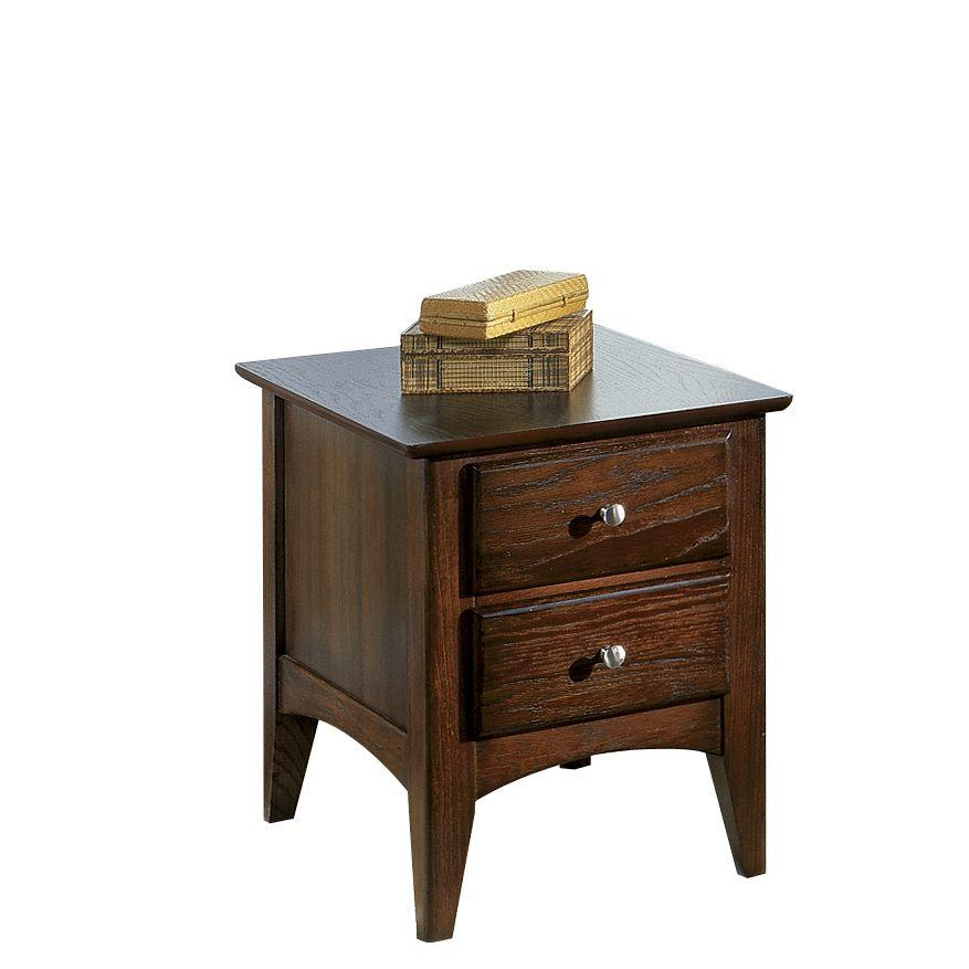 Metro II   Two Drawer Side Table   Ebony Brown Finish