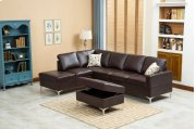 Maya Chocolate Brown Sectional with Storage Ottoman Product Image