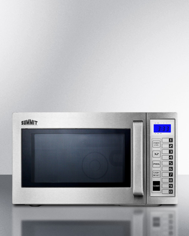 approved microwave with stainless steel exterior and interior