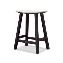 "Black & White Contempo 24"" Saddle Bar Stool"