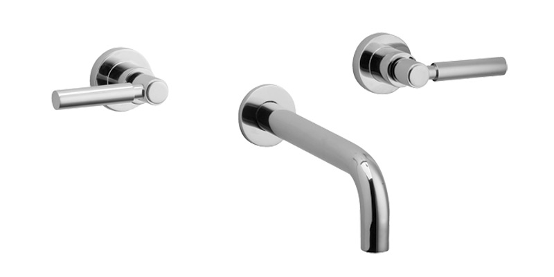 Wall Tub Set Lever Handles - Polished Brass