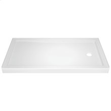 "High Gloss White 60"" x 32"" Shower Base - Right Drain"