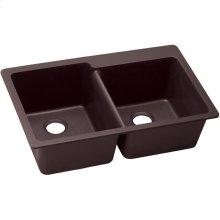 "Elkay Quartz Luxe 33"" x 22"" x 9-1/2"", Offset Double Bowl Drop-in Sink, Chestnut"