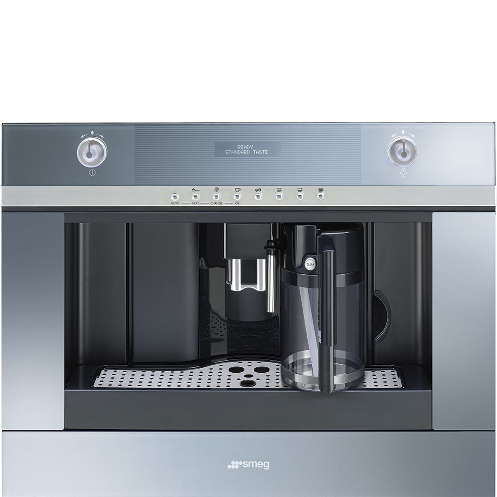 Smeg60 Cm (Approx. 24''), Fully-Automatic Coffee Machine With Milk Frother Supersilver Glass