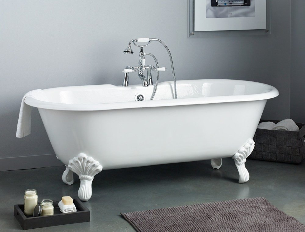 REGAL Cast Iron Bath With Shaughnessy Feet With Flat Area For Faucet Holes  Hidden