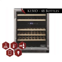 Kucht 48-Bottle Dual Zone Wine Cooler Built-in with Compressor in Stainless Steel