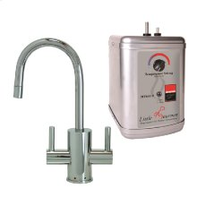 Francis Anthony Collection - Hot & Cold Water Faucet with Contemporary Round Body & Handles & Little Gourmet® Premium Hot Water Tank - Polished Chrome