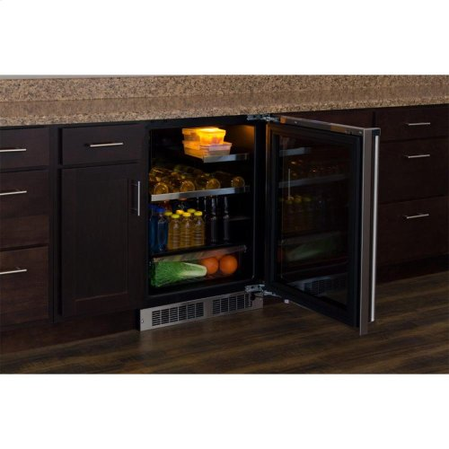"24"" Beverage Refrigerator with Drawer - Panel-Ready Framed Glass Door with Lock - Integrated Left Hinge (handle not included)*"