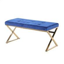 Blue/gold Velveteen Bench, X Legs, Kd