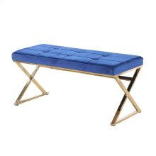 Blue/gold Velveteen Bench, X Legs, Kd