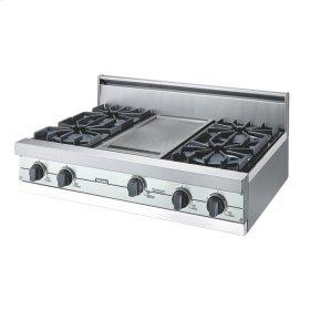 "Sea Glass 36"" Open Burner Rangetop - VGRT (36"" wide, four burners 12"" wide griddle/simmer plate)"