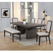 DLU-CA113 Collection  6 Piece Extendable Dining Table Set  Bench