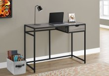 "COMPUTER DESK - 42""L / DARK TAUPE / BLACK METAL"