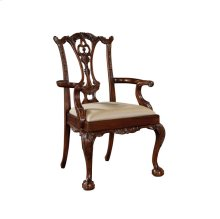 CARVED POLISHED MAHOGANY ARMCHAIR