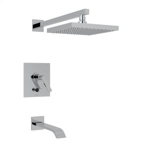 Polished Chrome Wave Pressure Balance Shower Package with Metal Lever