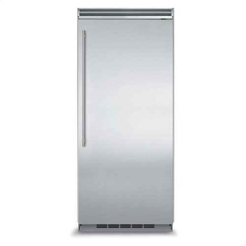"Professional Built-In 36"" All Refrigerator - Solid Stainless Steel Door - Left Hinge, Slim Designer Handle"