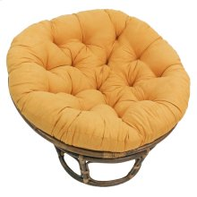 Bali 42-inch Rattan Papasan Chair with Microsuede Fabric Cushion - Walnut/Lemon