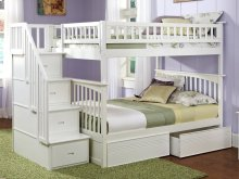 Columbia Staircase Bunk Bed Twin over Twin with Flat Panel Bed Drawers in White