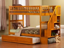 Woodland Staircase Bunk Bed Twin over Twin with Raised Panel Trundle Bed in Caramel Latte