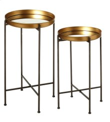 2 pc. set. Antique Gold Mirrored Tray Side Table.