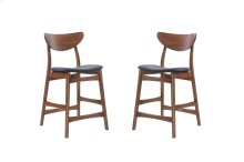 Emerald Home Simplicity Barstool Wood Back W/uph Blue Seat Walnut D550-24