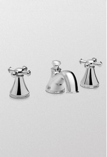 Brushed Nickel Vivian™ Widespread Lavatory Faucet with Cross Handles