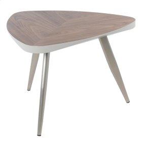 Maeve KD End Table Brushed Nickel Legs, Walnut
