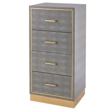 Edinburgh Faux Shagreen Cabinet 4 drawers, Chronicle Gray/ Gold *NEW*