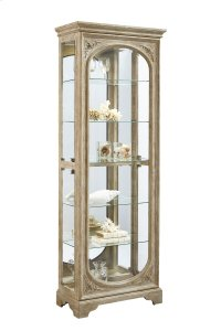 Distressed Finish Carved 5 Shelf Curio Cabinet in Birch Brown Product Image