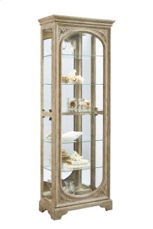 Distressed Finish Carved 5 Shelf Curio Cabinet in Birch Brown