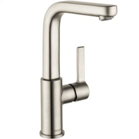 Brushed Nickel Single-Hole Faucet 230 with Swivel Spout and Pop-Up Drain, 1.2 GPM