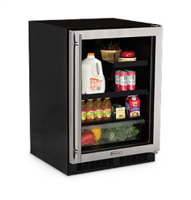 "24"" Beverage Refrigerator with Drawer - Smooth Black Frame Glass Door - Right Hinge"