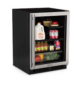 """24"""" Beverage Refrigerator with Drawer - Smooth Black Frame Glass Door - Left Hinge"""