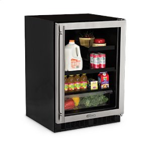 "Marvel24"" Beverage Refrigerator with Drawer - Black Frame Glass Door - Right Hinge"