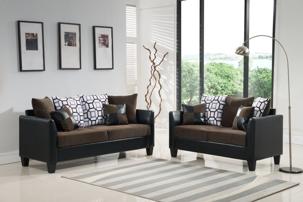 Affordable Furniture Brown Sofa, Loveseat