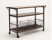 Serving Cart-med Oak W/basket