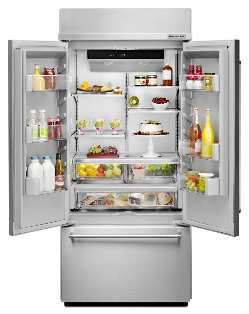 Kbfn506ess kitchenaid 20 8 cu ft 36 width built in - Kitchenaid refrigerator platinum interior ...