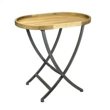 Oval Wood/metal Collapsible Accent Table