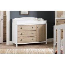 Changing Table with Station - Pure White and Rustic Oak