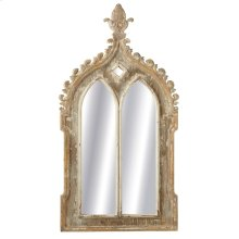 Double Arch Mirror with Carved Finial Top.