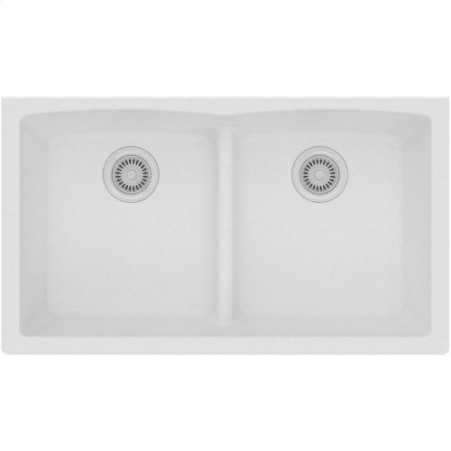 "Elkay Quartz Classic 33"" x 19"" x 10"", Equal Double Bowl Undermount Sink with Aqua Divide, White"