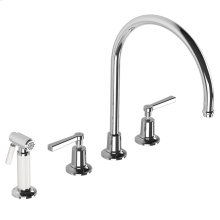 Fleetwood lever 4-hole kitchen mixer with white pull-out hand-spray